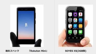 Rakuten MiniとSOYES XSの比較